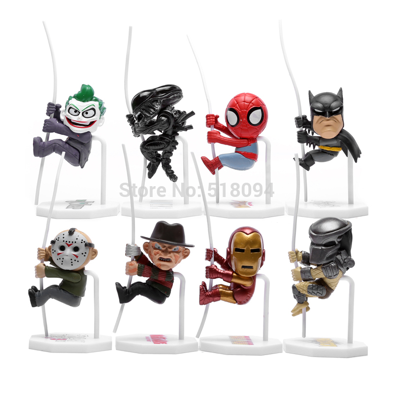 Superheroes Q Version Spiderman Batman Alien Joker Predators Freddy Jason PVC Action Figure Toys Dolls 8pcs/set HRFG282 movie a new dimension in terror a review of friday the 13th part3 3d freddy vs jason figure freddy pvc action figures