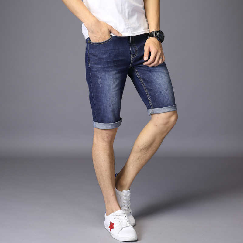 2017 Для мужчин джинсовые летние Шорты для женщин Stretch Slim Fit по колено Джинсы для женщин дизайнерская хлопковая Рубашки домашние