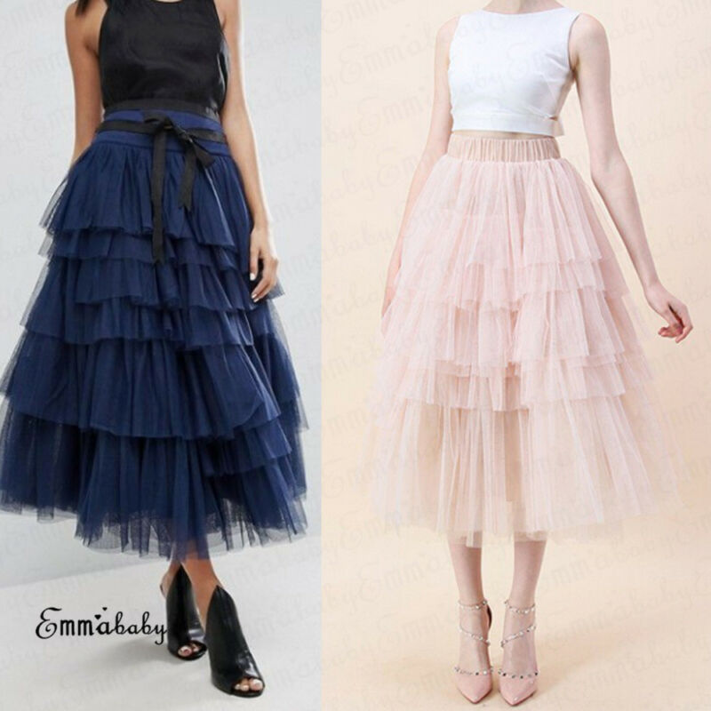 Fashion Summer Women Boho Lace Tiered Ruffle Flower High Waist Beach Midi Skirt Lady Mesh Ball Gown Skirt