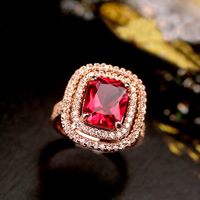 Brilliant Amazing Big Orange Champagne Color Stone Ring Square Red Crystal Pave Setting Rose Gold Plated