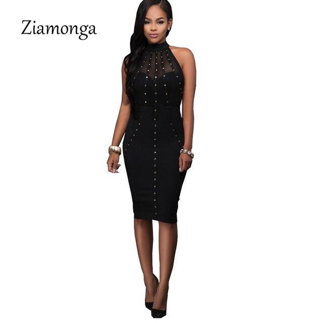 Ziamonga Sexy Bandage Dress Black Red Women Rivet Mesh Hollow Out Midi  Bodycon Dress 2017 Fashion 5e58aeaf21eb