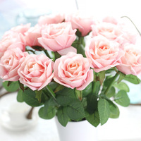 10pcs/lot New Year Gift Real Touch Rose Decor Rose Artificial Flowers Silk Flowers Latex Wedding Bouquet Party Birthday Flowers