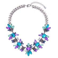 Women Fashion Amethyst Sapphire Jewelry Brand Designer Shining Crystal Flower Pendant Necklace Accessories