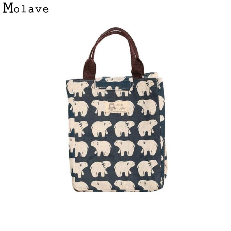 Naivety Canvas Lunch Bag New Portable Insulation Package Waterproof Printing Tote 11S60926 drop shipping luxury brand lunch bag for women kids men oxford cooler lunch tote bag waterproof lunch bags insulation package thermal food bag