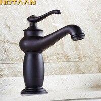 Black Copper Bathroom Faucet Fashion Vintage Hot And Cold Faucet Wash Basin Mixer Sink single handle single hole Faucet YT 50103