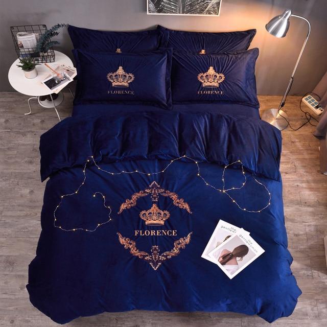 Full Queen King size Crown Bedding Set Fleece Warm Bed set Flat Bed Sheet set Duvet Cover Fitted sheet Pillowcase parure de lit