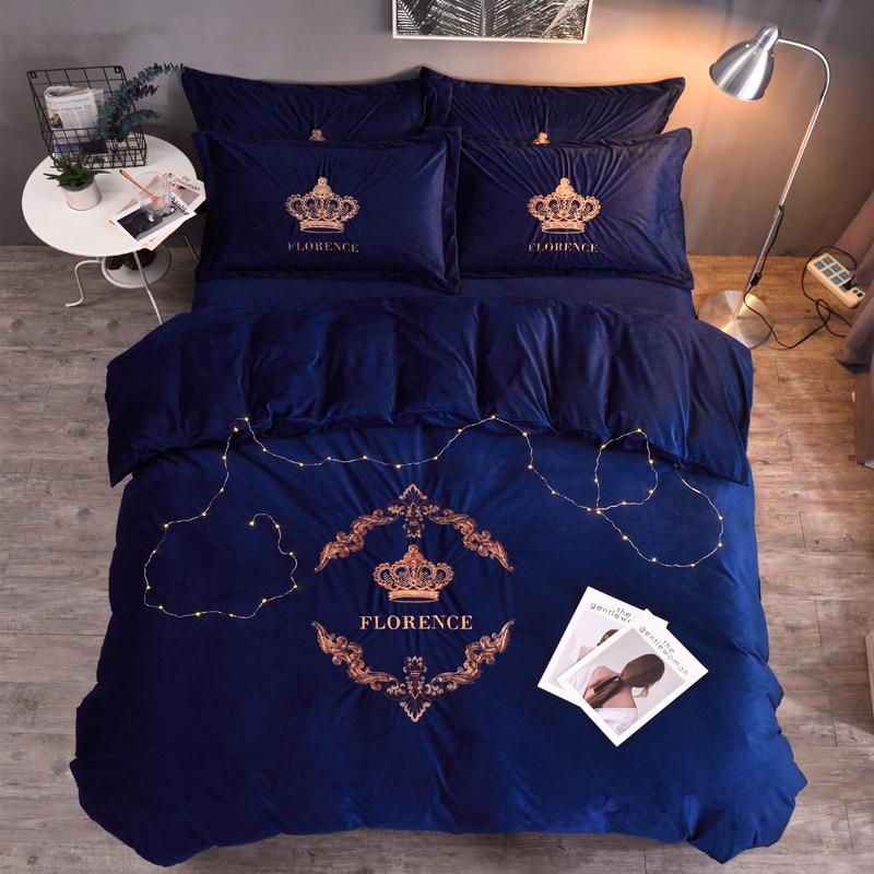 Grey Coffee Queen King Size Crown Bedding Set Velvet Soft Warm Bed Set Flat Bed Sheet Set Duvet Cover Fitted Sheet Pillowcase