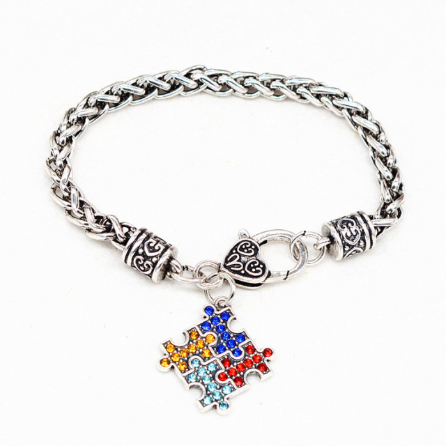 item bracelets bracelet piece zinc adjustable charm bangles enamel awareness alloy autistic autism puzzle