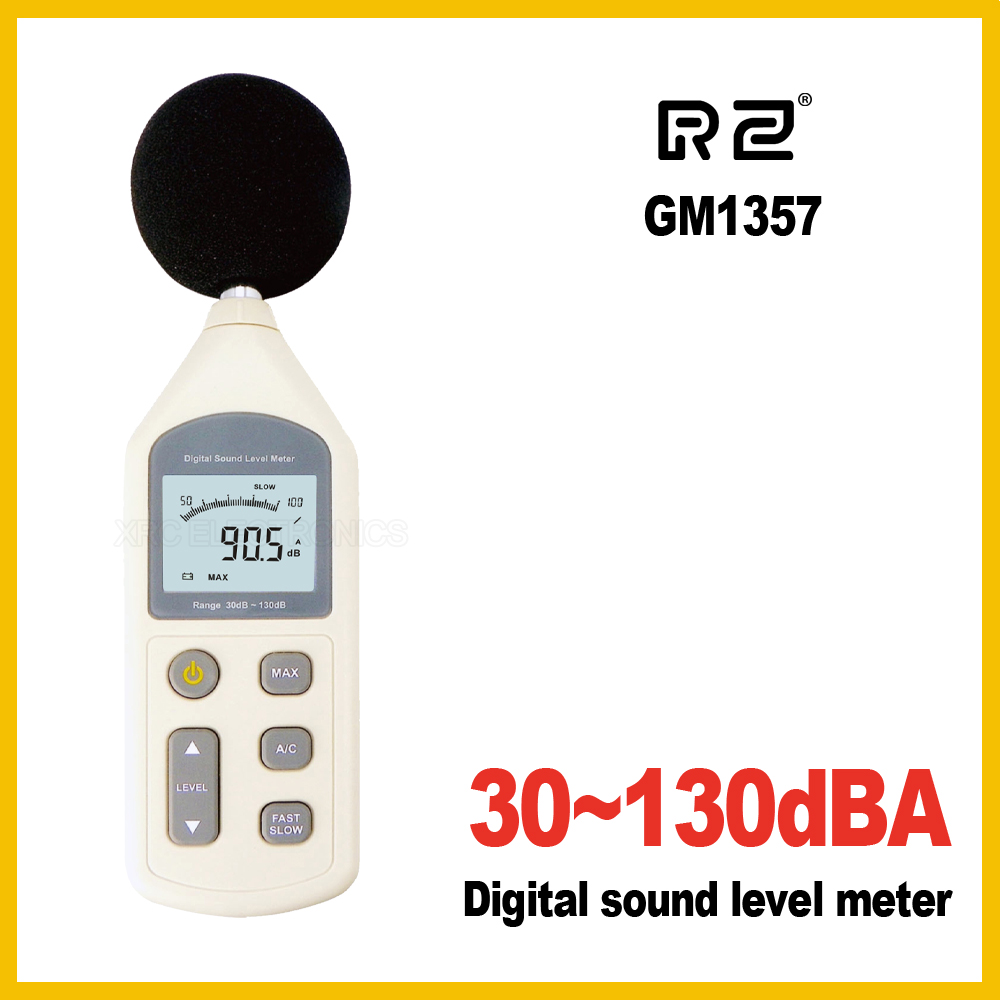 RZ 30-130dB New Digital Sound Level Meter Meters GM1357 Noise Tester in decibels LCD A/C FAST/SLOW dB screen Wholesale new digital 6 30