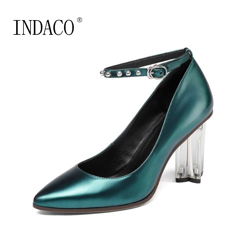 2018 New Spring Women's Ankle Strap High Heel Pumps Pointed Toe Genuine Leather Crystal Shoes 8.5cm цены онлайн