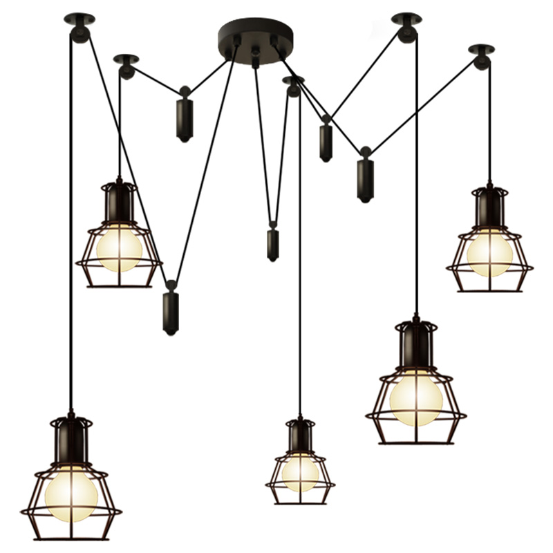 Nordic Retro Loft Black Pendant Lamps Simple Lift Living Room LED Pendant Lamps Droplight Led E27 Lustre Lighting Fixtures Avize