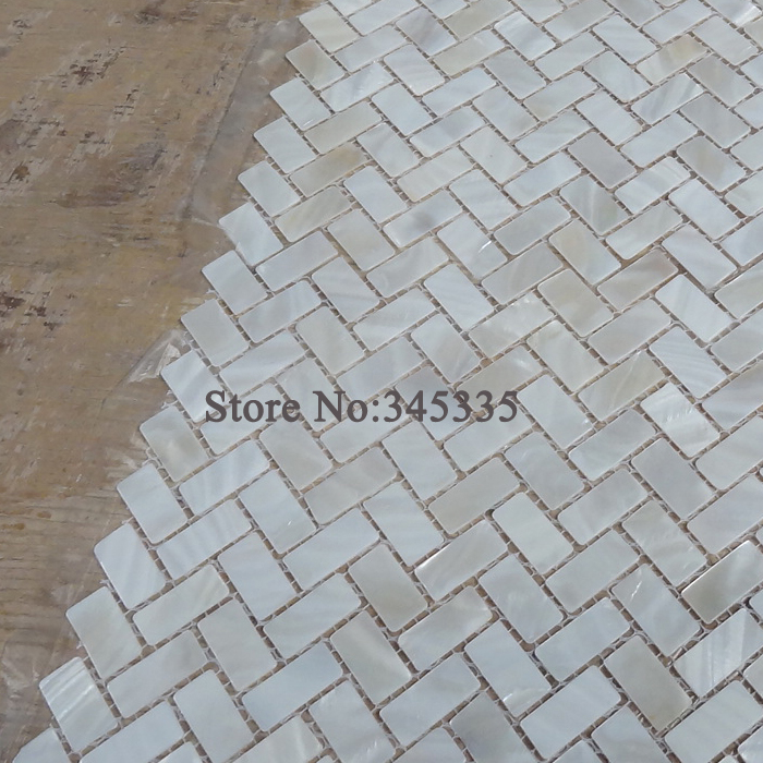 1PCS white shell mosaic tile mother of pearl wall zip herringbone bathroom deco