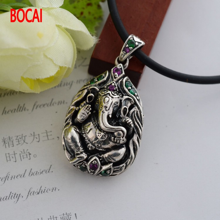 925 bijoux en argent Sterling Vintage pendentif en argent Ganesh 039076 w