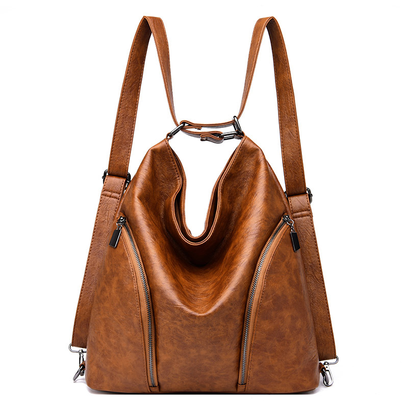 Multi Function Women Large Capacity Shopping Tote Bags Soft Leather School Bag Vintage Solid Shoulder Bags for Women 2019 in Top Handle Bags from Luggage Bags