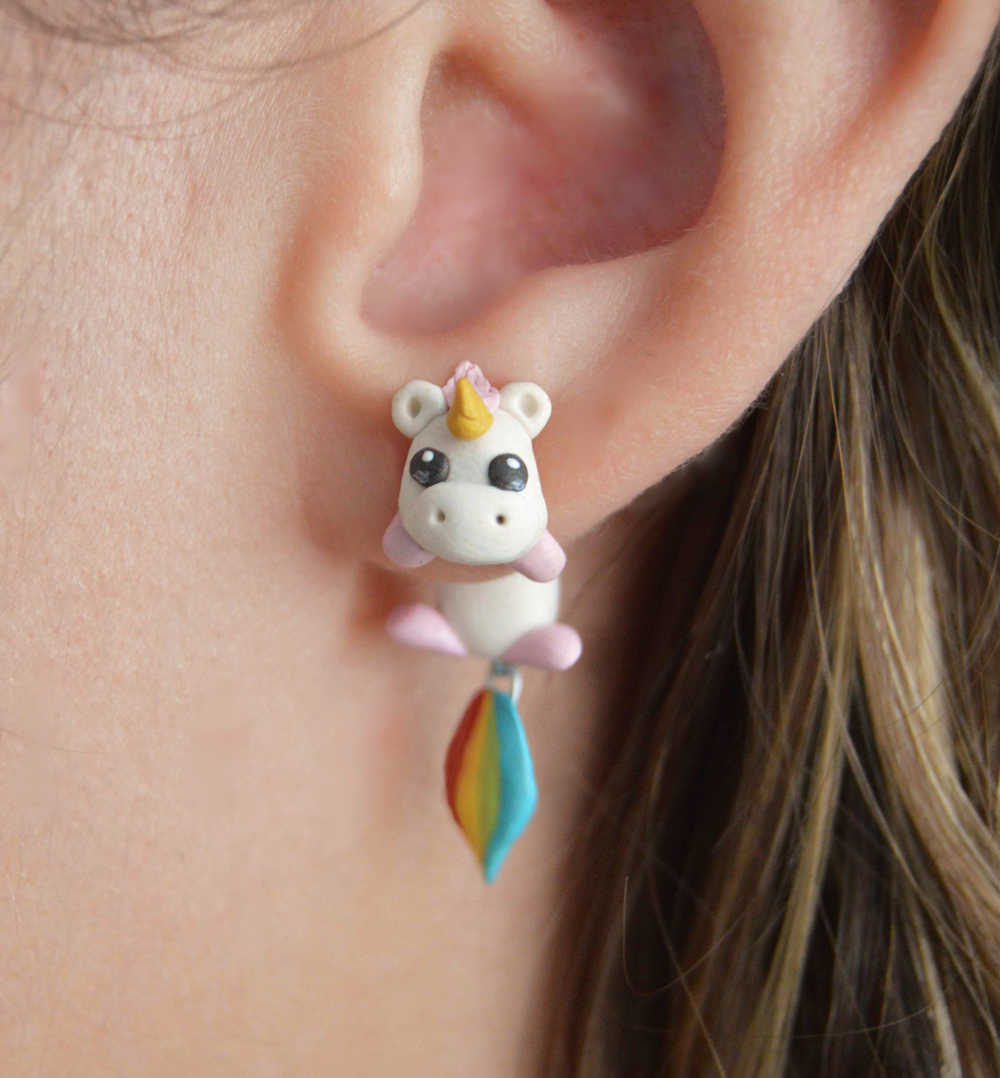 TTPAIAI 30 Polymer Clay Cute Unicorn Earrings For Women Fashion Jewelry Handmade 3d Pegasus Horse Stud Earring Girls Kids Gift