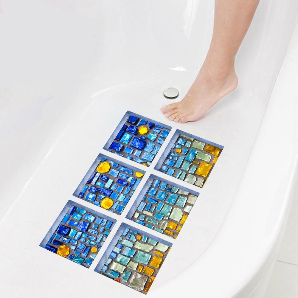 yazi 6PCS 3D Mosaic PVC Waterproof Bathtub Sticker Anti Slip Bath ...