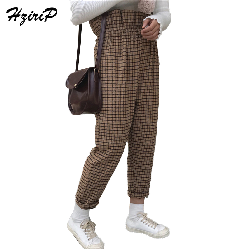 HziriP Loose Elastic High Waist Bud   Pants   Women 2018 Spring Winter Vintage Plaid Casual Woolen Harem   Pants   &   Capris   for Girls