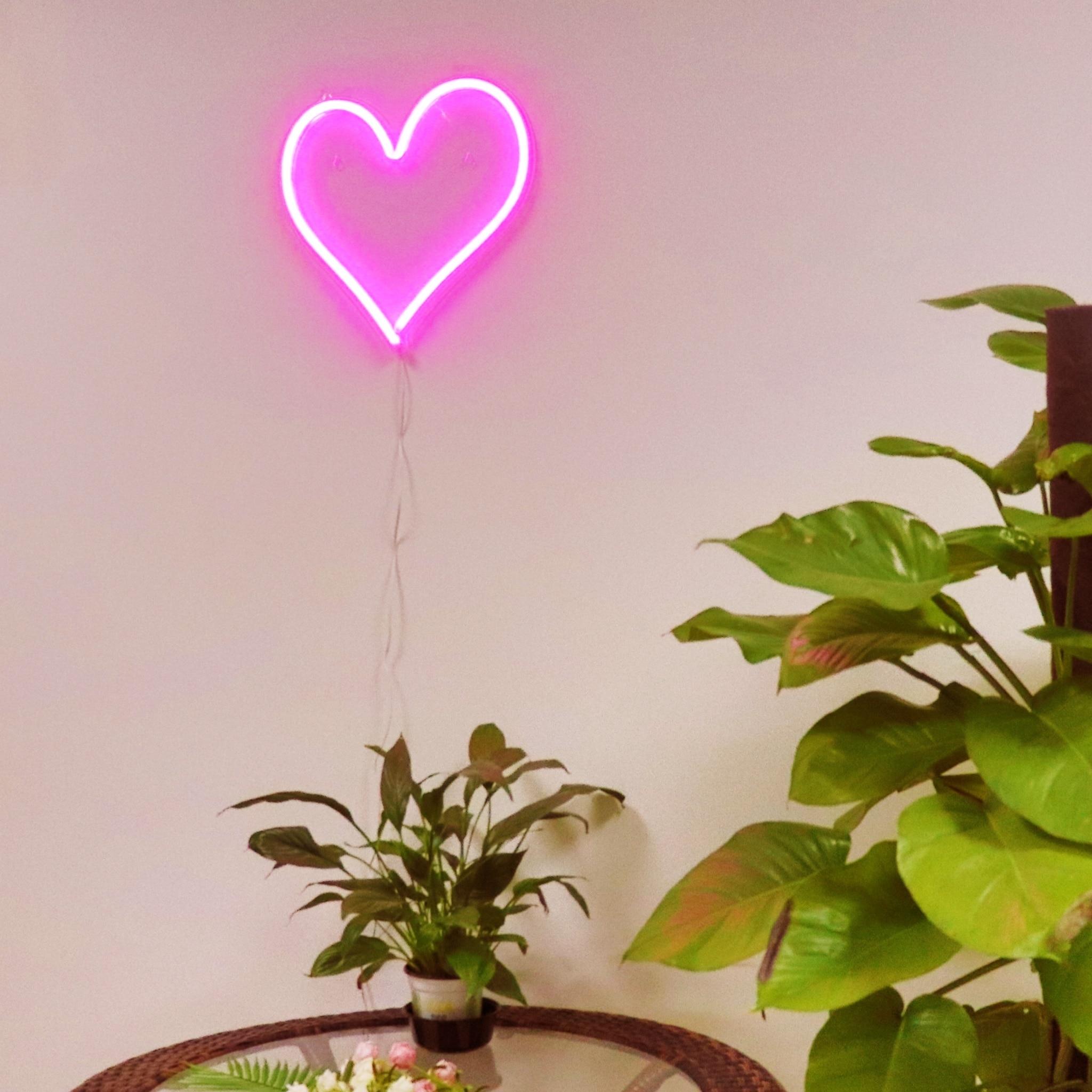 TONGER coeur acrylique mur LED néon signe LED lumières décoration de noël décoration extérieure LED lumières de noël