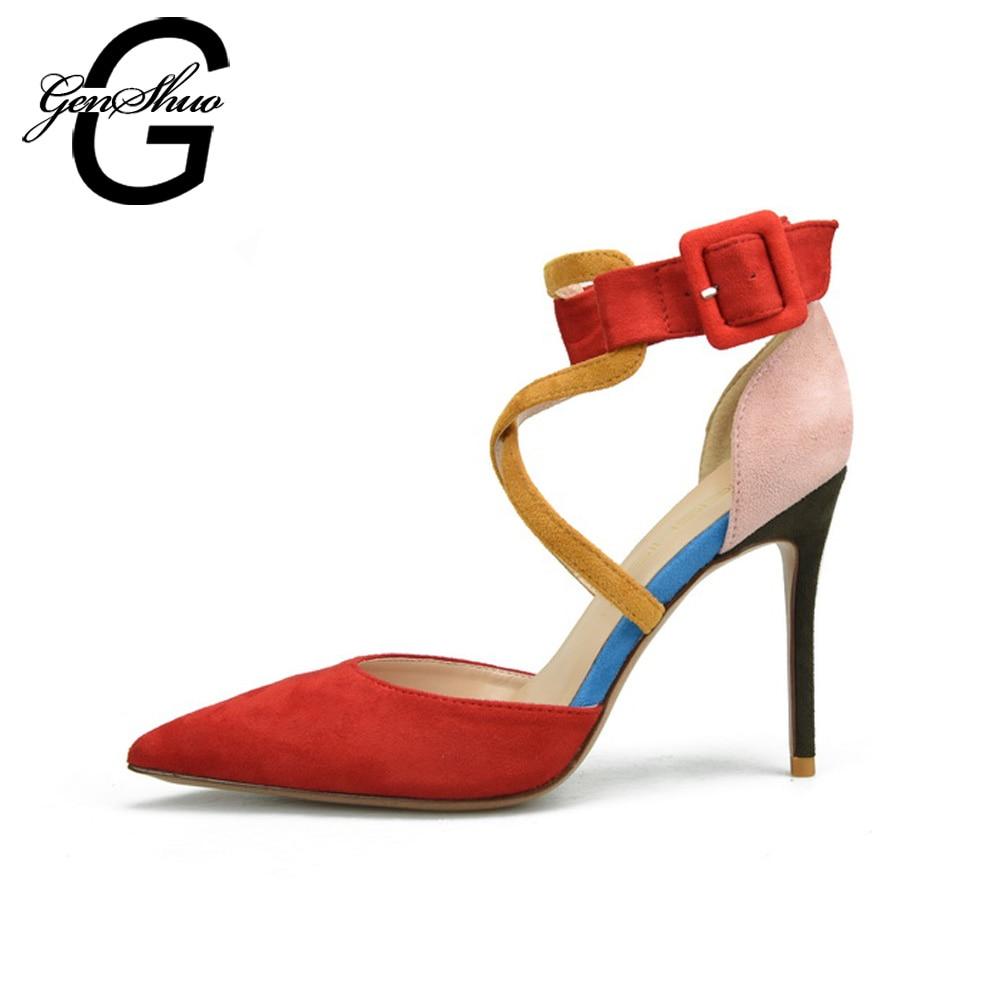 GENSHUO Women Shoes High Heels Stiletto Ankle Strap 6cm 8cm 10cm Sexy Women Pumps Black Red