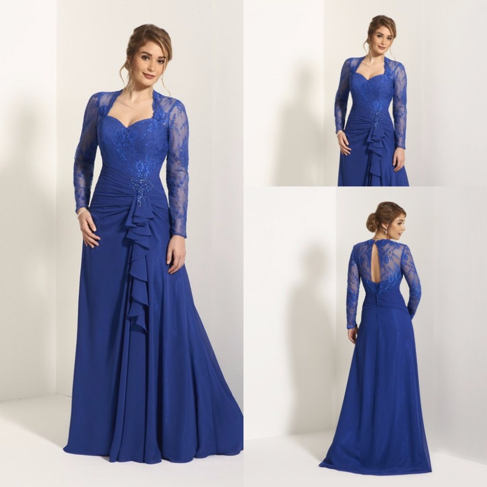 Simple royal blue lace mother of the bridal dresses a line for Wedding dresses with royal blue