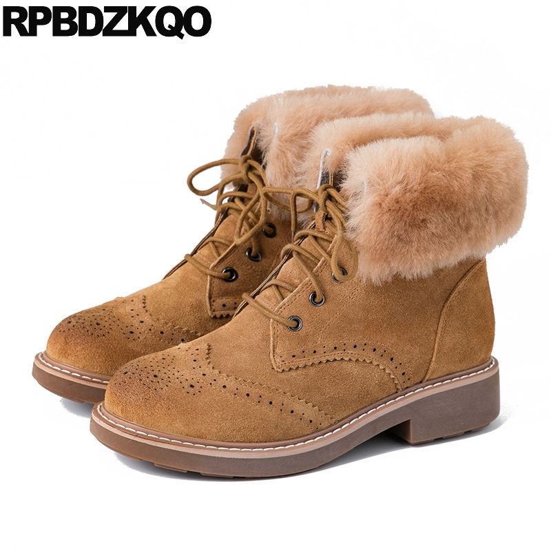 Ankle Platform Flat British Military Lace Up Booties Suede Army Brown Combat Fur Shoes Winter Women Boots 2016 Round Toe New bryan perrett british military history for dummies