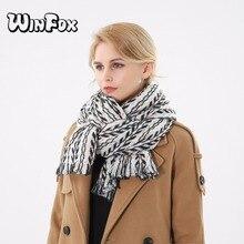 Winfox 2018 New Luxry Brand Winter Vintage Tribe Black Grey Pink Herringbone Pattern Scarf Shawl Pashmina For Womens Ladies