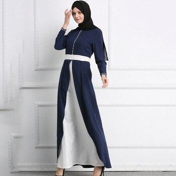 Beautiful Muslim Womens Abaya Dress Dubai Patchwork O-Neck Polyester abaya