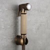 Antique Toilet Brass Hand Held Bidet Spray Shower Head Douche Kit shattaf Bathroom Bidet sprayer Jet Tap & Brass Holder & hose