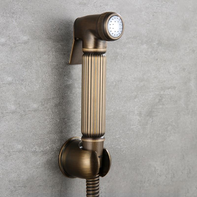 Toilette antico In Ottone A Mano Held Bidet Spray Soffione doccia Douche Kit shattaf Bagno Bidet spruzzatore Jet Tap & Supporto In Ottone e tubo flessibile