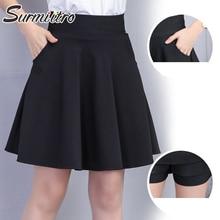 Surmiitro, черные шорты, юбка для женщин, мода, одноцветная, с карманами, высокая талия, а-силуэт, солнцезащитная, школьная, мини юбка для женщин