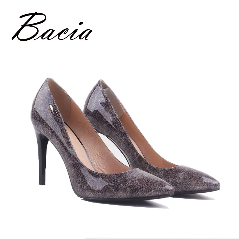 Buy Bacia Shoes Fashion Silver Color Genuine Leather High Heels Women Pumps