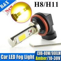 Paar H11 H8 H7 HB3 HB4 H1 H3 9005 9006 COB Hohe power 80 Watt 10 V-30 V led Drl glühbirnen 900LM Super helle weiß/gelb
