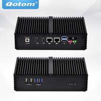 QOTOM sin ventilador Mini PC industrial con núcleo i5-4200Y procesador Dual Core de hasta 1,9 GHz Dual NIC Mini PC core i5