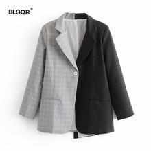 Women Striped Plaid Splice Blazer Jacket Long Sleeve Suit