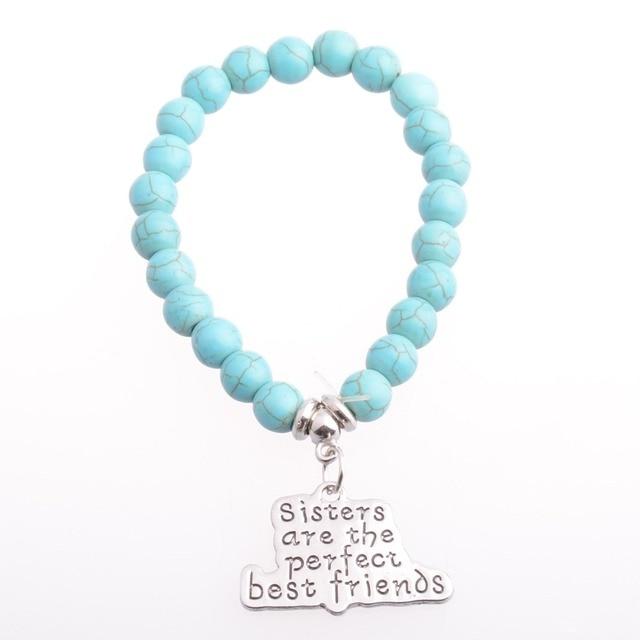 1e15304fd49d Hermanas son mejores amigos pulseras brazalete azul Cuentas cadena amistad  BFF familia Niñas encanto joyería regalos