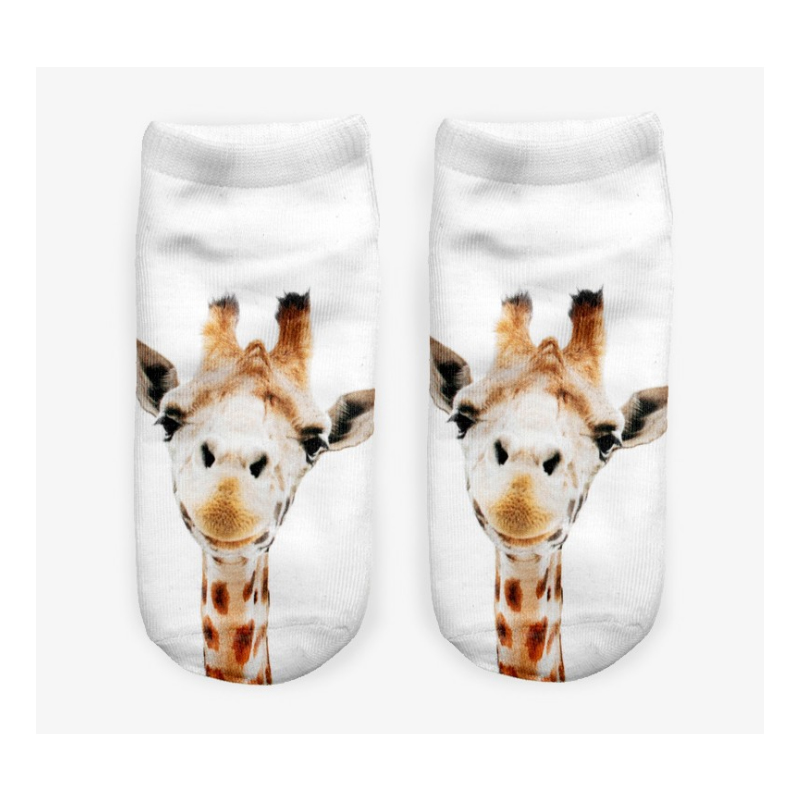 Sale Women Animal Funny Cartoon 3D Socks Fox Giraffe Summer Breathable Casual Girls Small Boat Sock