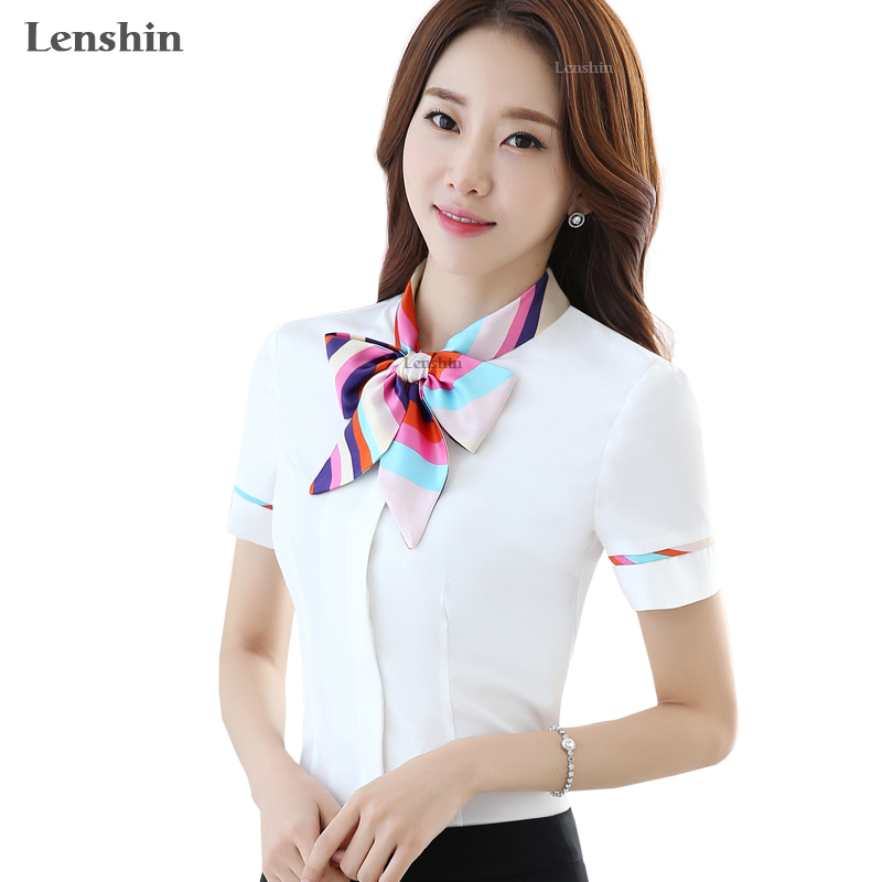 Women Bow Tie Blouse Fashion 2016 Spring short Sleeve Chiffon blusa Tops Korean Style Female Office ruffle Shirts Elegant Design Платье