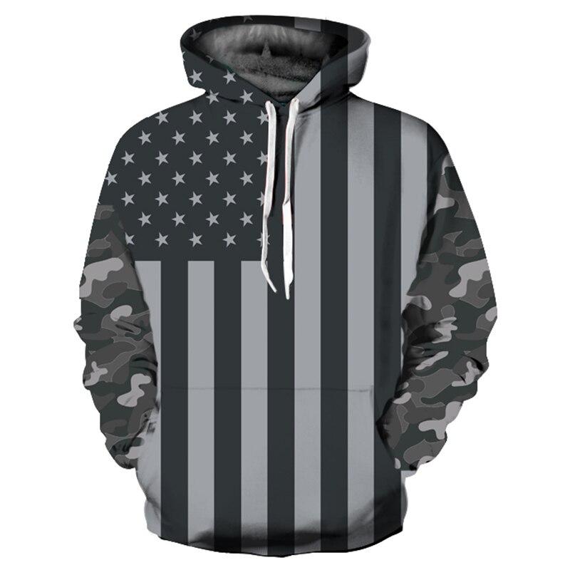 Black-And-White Color Fashion Mens/Womens Hoodies USA Flag Hoodies Men/Women America Flag 3D Hooded Hoodies Unisex Tracksuits