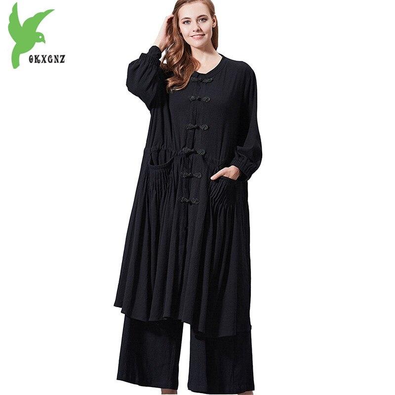 Pantalons à jambes larges ensembles femmes 2018 printemps coton lin deux pièces Cardigan haut Long + taille élastique grande taille ensemble femme OKXGNZ1711