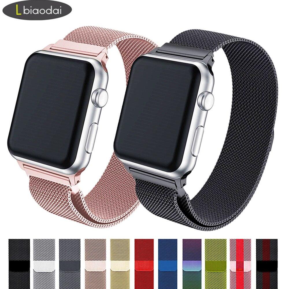 Pulsera Milanese Loop para reloj Apple Watch banda 42mm/38mm iwatch Correa 44mm/40mm de acero inoxidable pulsera correa de reloj de Apple watch 4/3/2/1