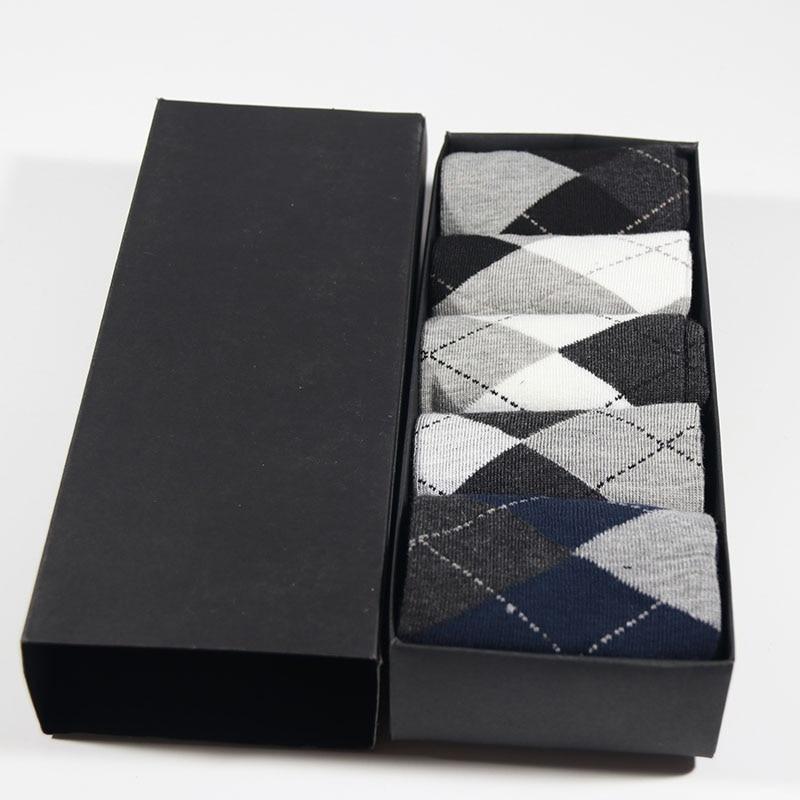 Winter Men Socks Black Business Gift Box Cotton Wedding Socks 5Pairs Standard Size