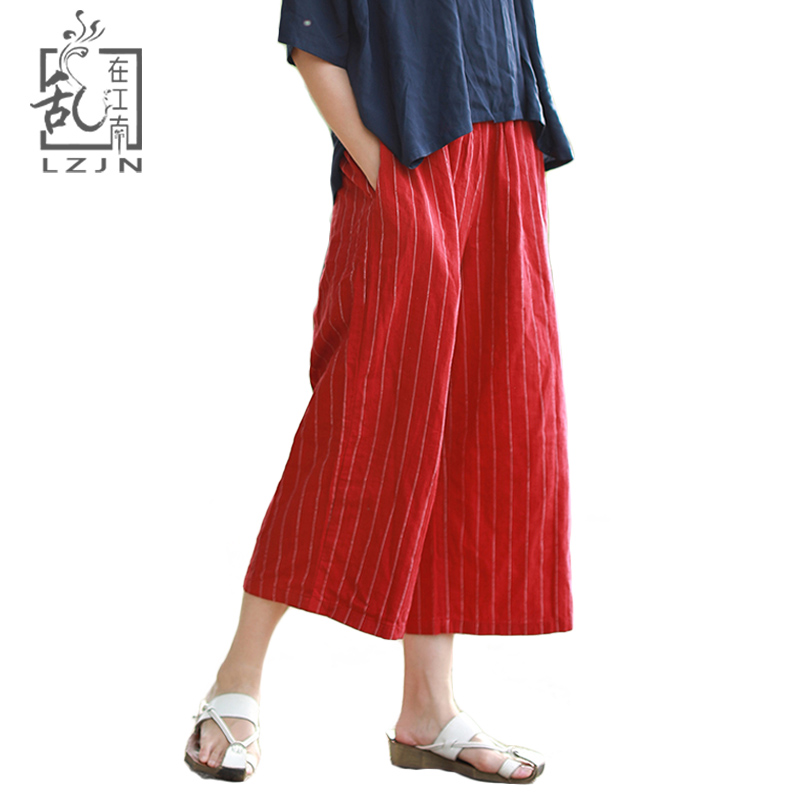 4cac528e92e4b LZJN Striped Wide Leg Pants for Women 2018 Summer Beach Capris Pants  Elastic High Waist Cropped Culottes Trousers Calf-Length