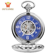 цена на OUYAWEI Sky Blue Pocket Watches Men Hand Wind Mechanical Vintage Pendant Watch Necklace Chain Antique Fob Clock Relogio bolso