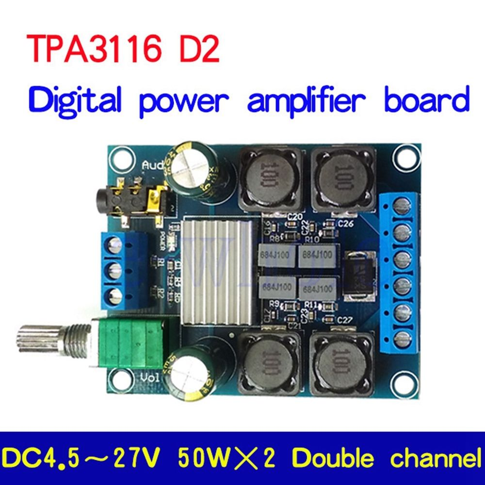 TPA3116 D2 50W*2 Digital Power Amplifier Stereo Audio AMP Board Module Dual Channel FOR 12V 24V CAR 50w*2TPA3116 D2 50W*2 Digital Power Amplifier Stereo Audio AMP Board Module Dual Channel FOR 12V 24V CAR 50w*2