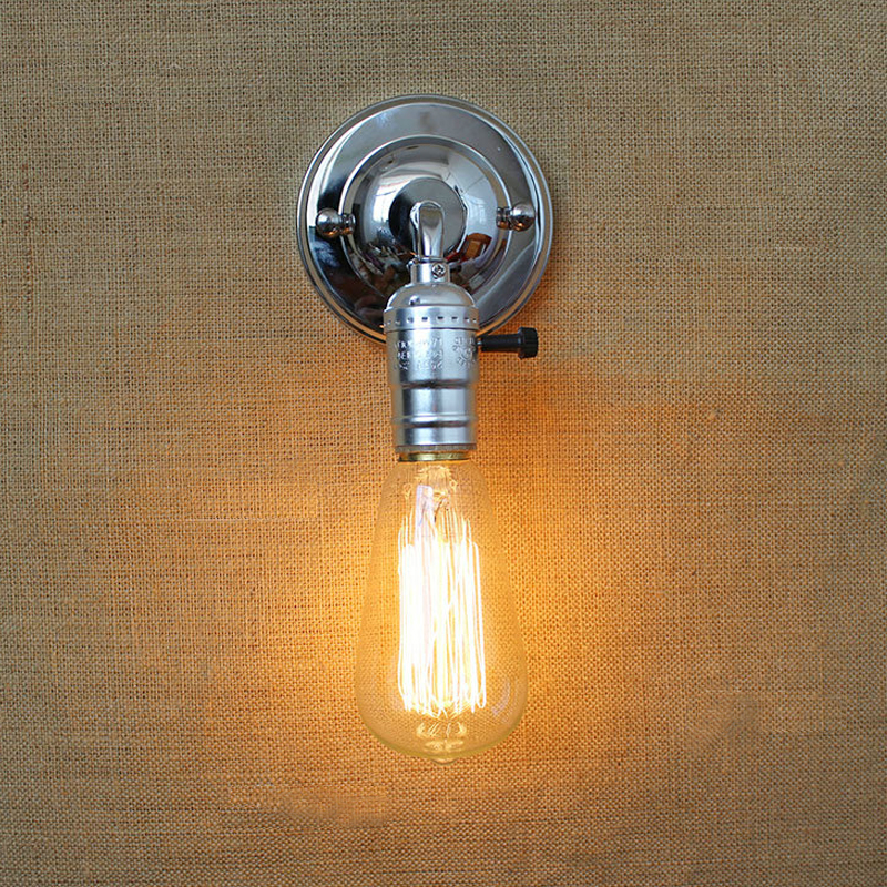 Free shpping Loft vintage iron wall lamp with switch indoor wall lights fashion stair light bedside lamps modern wall light gold free shipping ems fashion big pendant light wrought iron lighting stair lamp double layer house lights fashion lamps