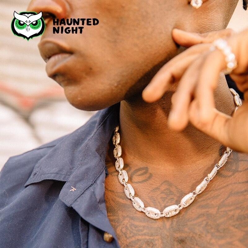 Nez de porc zircone finition dorée chaîne à maillons cubains collier pour hommes/femmes Hip hop collier glacé bijoux nouveau Design18, 20Inch