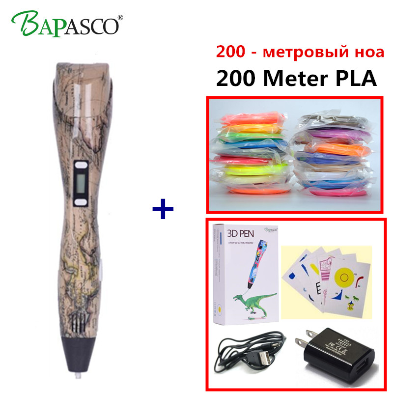1.75mm ABS/PLA DIY 3D Printing Pen LED/LCD Screen 3D Pen Painting Pen+200M Filament Creative Toy Gift For Kids Design Drawing myriwell 3d printing pen1 75mm abs smart 3d drawing pen free filament adapter creative gift for kids design painting page 9