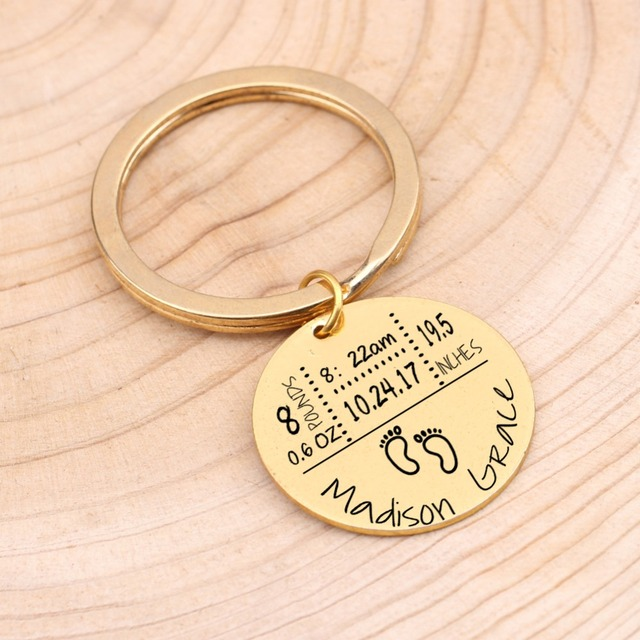 Baby Birth State Keychain Gift For First Fathers day New Mommy Gift Newborn Baby Key Pendant Women Men Key Accessories 3 Colors 1