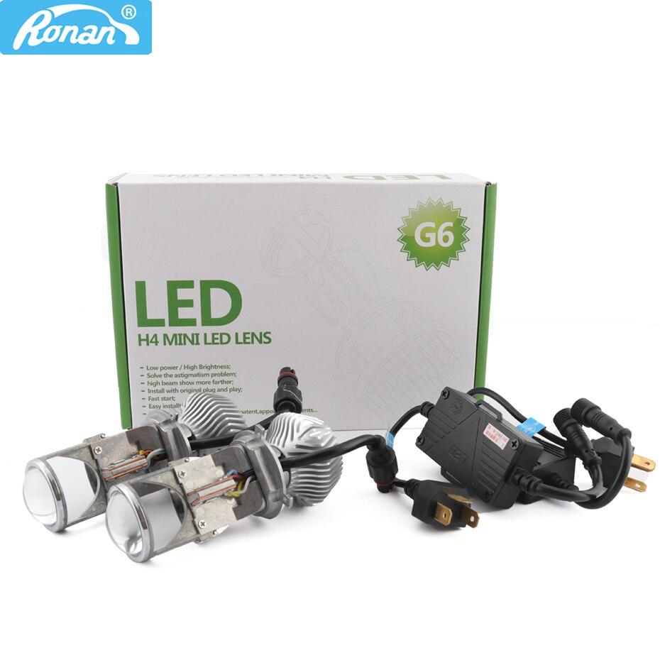 RONAN 70 watt Kleinste Micro Mini Bi-LED Hallo/Lo Scheinwerfer Projektor Objektiv 12 v/24 v für Scheinwerfer Nachrüstung DIY H4 Auto Styling