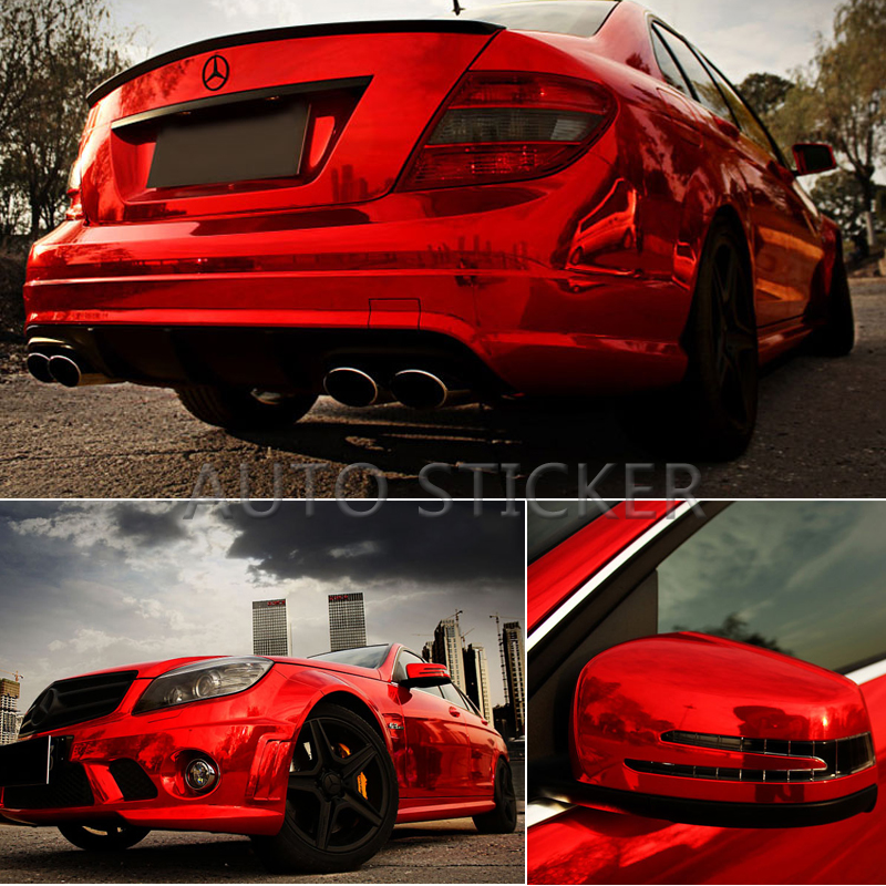 10/20/30/40/50*152CM High Stretchable Red Chrome Air Bubble Free Mirror Vinyl Wrap Film Sticker Emblem Car Bike Motor Cover